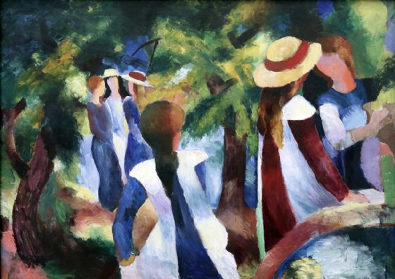 Macke, August: Girls Under the Trees. Fine Art Print/Poster. Sizes: A4/A3/A2/A1 (00154)